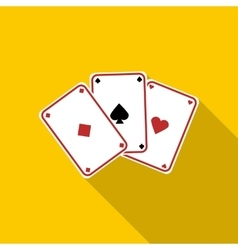 Three aces playing cards icon flat style vector image vector image