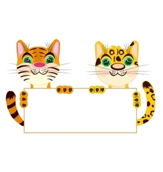 Tiger and leopard with clean sheet of paper vector image