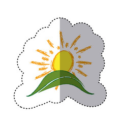 color sticker with hand drawn sun over green hill vector image vector image