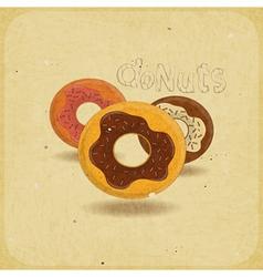 donuts on vintage background vector image