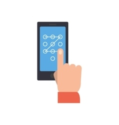Hand performing touch gesture to unlock phone vector image