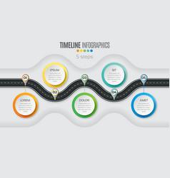 navigation map infographic 5 steps timeline vector image vector image