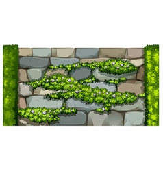 Seamless fence design with brick wall and plant vector