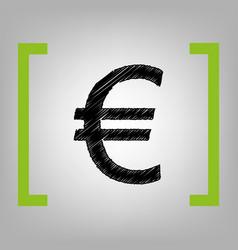 euro sign black scribble icon in citron vector image