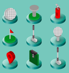 golf flat isometric set vector image vector image