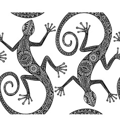 hand drawn seamless pattern with monochrome lizard vector image