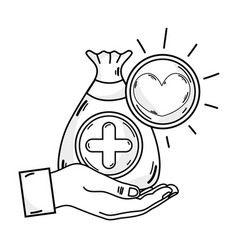 Line hand with bag dotation with heart and cross vector