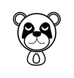 outline panda head animal vector image