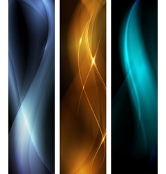 abstract dark wave banner set vector image vector image