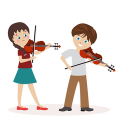 boy and a girl are playing the violin music vector image