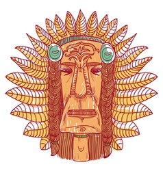 tattoo with indian face - vector image