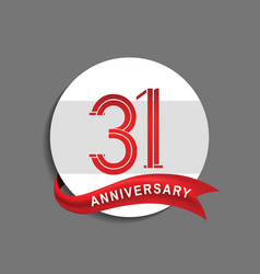 31 anniversary with white circle and red ribbon vector