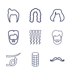 9 hairstyle icons vector