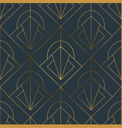 abstract art deco gold black line seamless pattern vector image