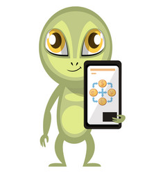 alien with cellphone on white background vector image