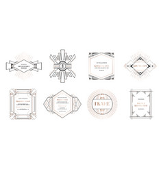 art deco borders and frames wedding card banner vector image