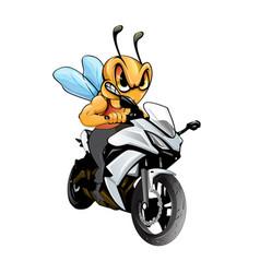 Bee riding a bike vector