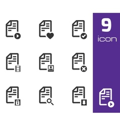 Black documents icons set vector