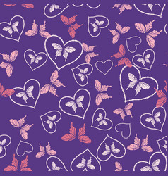 butterflies and hearts seamless pattern vector image