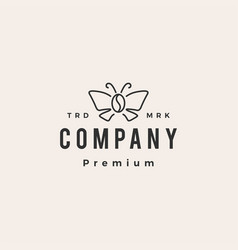 Butterfly coffee bean hipster vintage logo icon vector