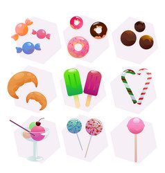 candy and lollipop set vector image