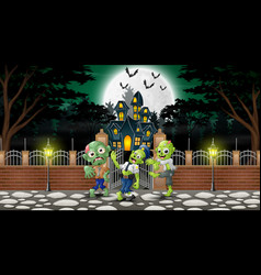 Cartoon of zombie group on the halloween day with vector