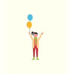 child girl happy with decorative balloons in hands vector image