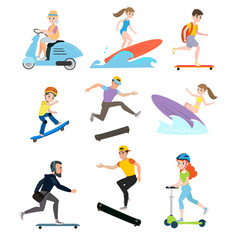children and parents go in for sports together vector image