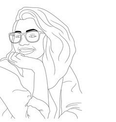 Coloring pages - happy women on an isolated vector