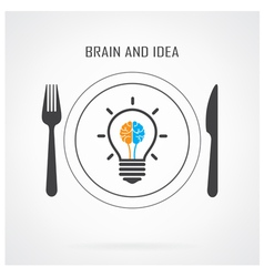 Creative light bulb idea and brain concept backgro vector