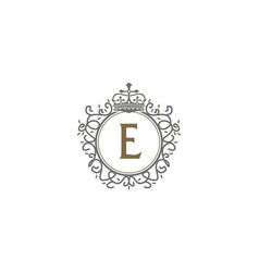 Crown leaf logo initial e vector