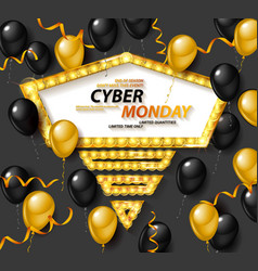 Cyber monday sale poster with shiny balloons vector