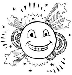 doodle pop smiley face vector image