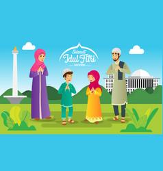 Elamat hari raya idul fitri is another language vector