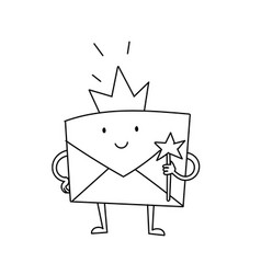 Envelope princess character scetch favorite vector
