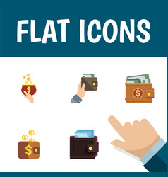 Flat icon purse set of money payment billfold vector