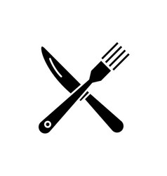 fork and knife black icon sign on isolated vector image