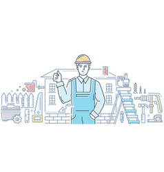 general worker - line design style vector image
