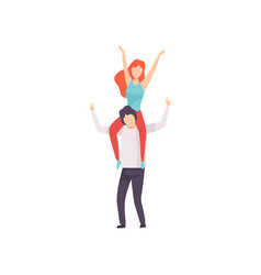 Girl sitting on shoulders guy with hands raised vector