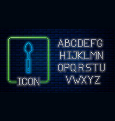 Glowing neon spoon icon isolated on brick wall vector