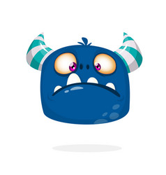 Grumpy sad monster cartoon vector
