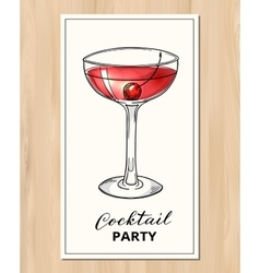 Hand drawn cocktail with cherry vector