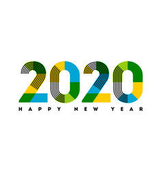Happy new year 2020 with stripes and color blocks vector