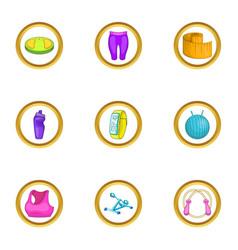 Health icons set cartoon style vector