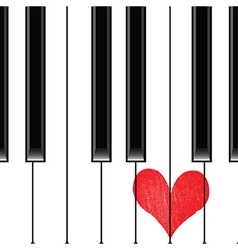 Heart love music piano vector