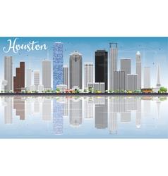 Houston Skyline with Gray Buildings vector