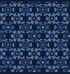Indigo blue gradient dyed mosaic flower tiles vector