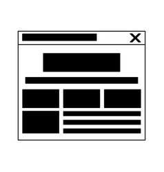 internet website tab isolated in black and white vector image