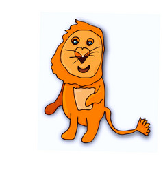 isolated little lion cub on white background in vector image