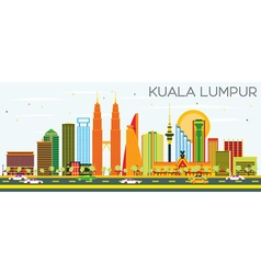 Kuala Lumpur Skyline with Color Buildings vector image